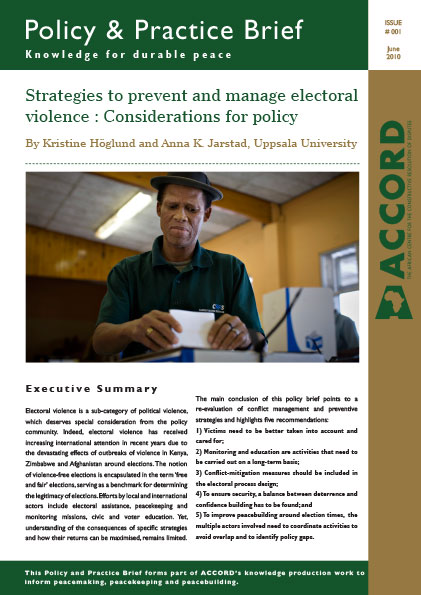 ACCORD - PPB - 1 - Strategies to prevent and manage electoral violence