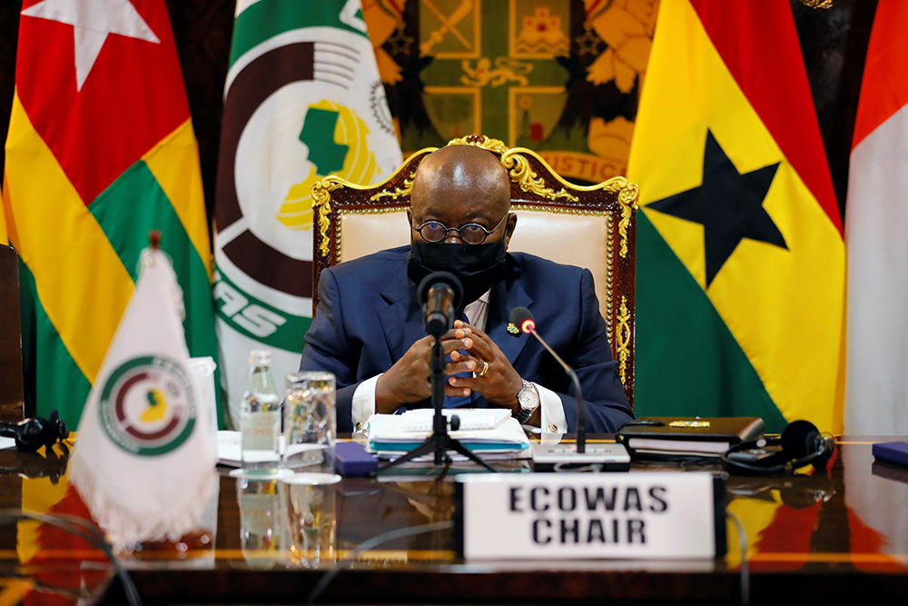 Ghanaian President Nana Akufo-Addo, new chairman of the Economic Community of West African States (ECOWAS), attends a consultative meeting in Accra